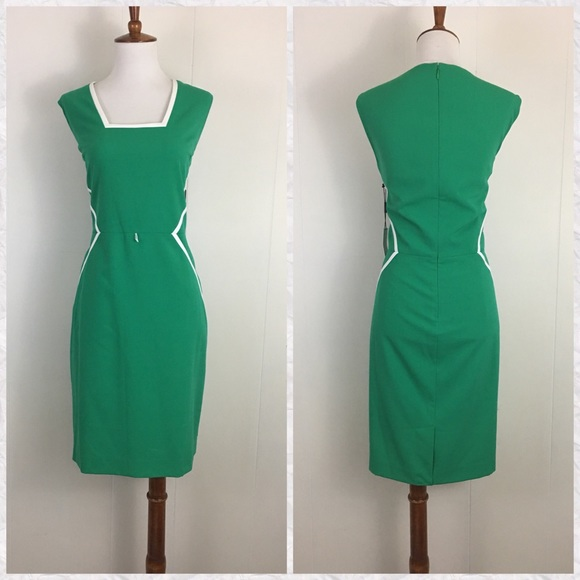 add632adf52 Calvin Klein Sleeveless Square Neck Sheath Dress